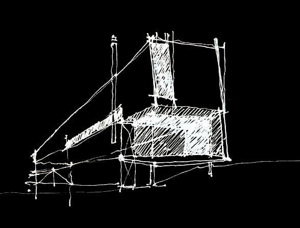 Another one of Brian's initial Concept Sketches. You can see that we moved the location of that vertical window and tweaked a few other things. But the overall concept is remarkably intact.