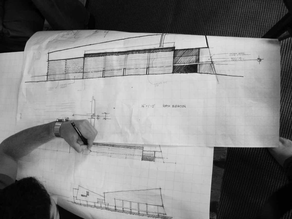 One of the Ghosties working on the elevation drawing.