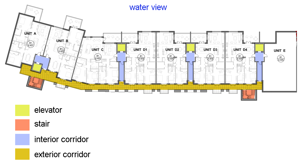 Overall building plan. The F2 unit was later renamed the D unit.