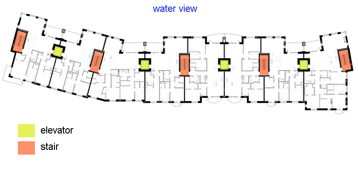 The typical floor plan. By providing direct access from each unit to 1 stair and 1 elevator we were able to eliminate common corridors on the upper floors. The ground floor would have small lobbies and corridors to provide access to the elevators.