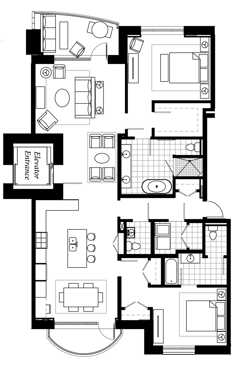 This is the 1,800 sf A Unit. Remember the G unit sketch I liked above. This is what came of that unit.