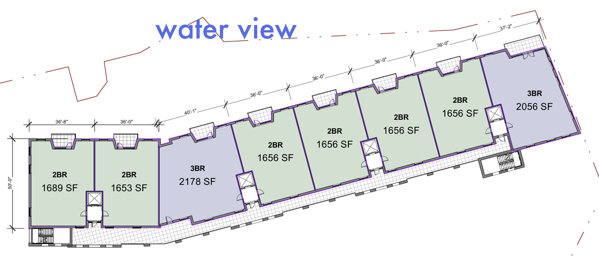 The initial building plan. The single loaded design ensures that each unit has a view of the water. An exterior corridor on the back of the building would provide access to the 2 stair towers.