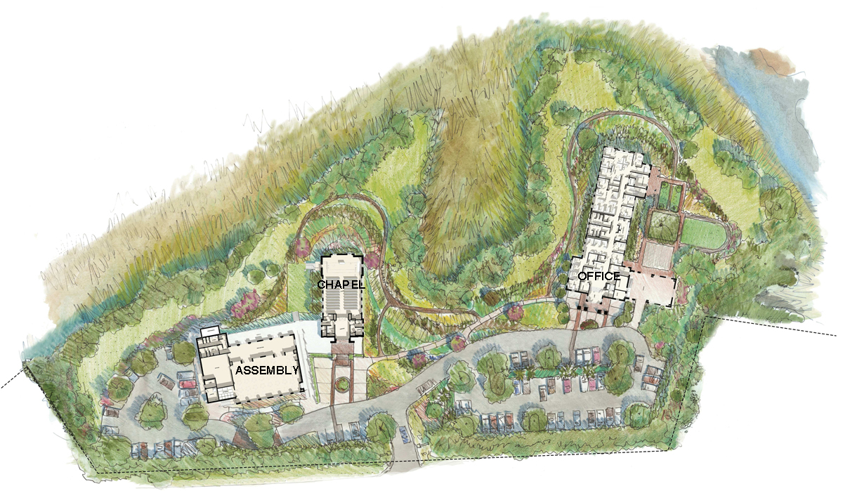 Site Plan Rendering. This rendering is courtesy of the landscape architecture firm Design Works.