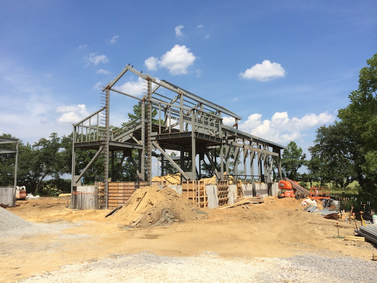 A construction photo of the chapel's steel frame.