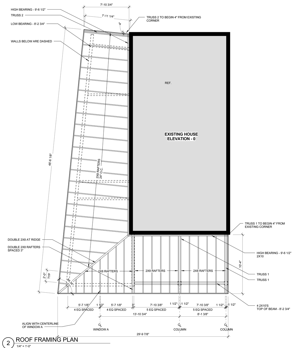The Roof Framing Plan. Notice the shape of the roof on the left side. The rafter span gets wider, which means every rafter is a different length and a different slope.