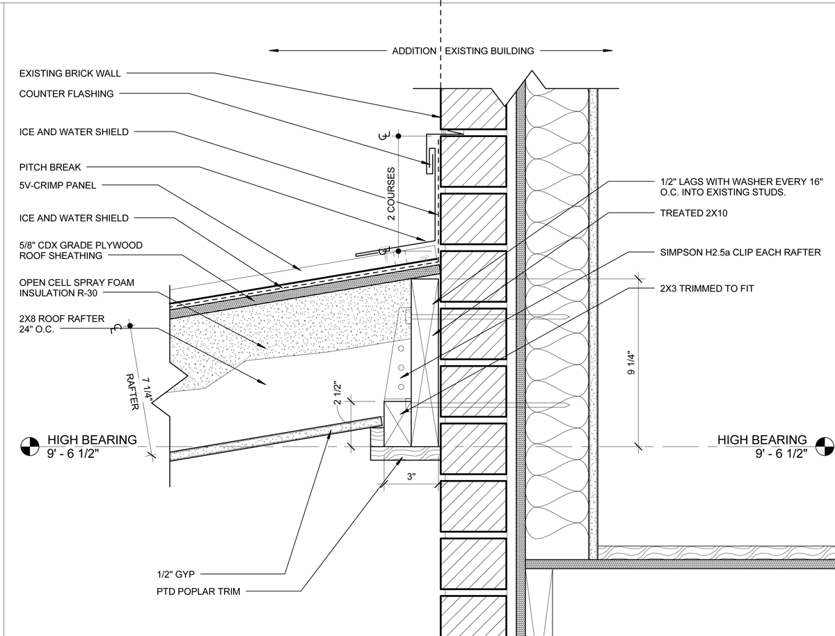 The Ledger Detail. The challenge with this detail is that it requires the carpenter to bolt through the existing brick wall and hit the studs. Or try to hit the studs.