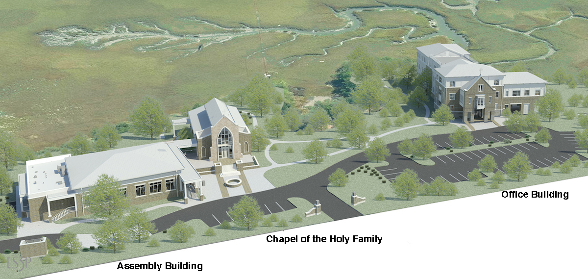 The aerial rendering shows the 3 building sited along the marsh of the Ashley River.