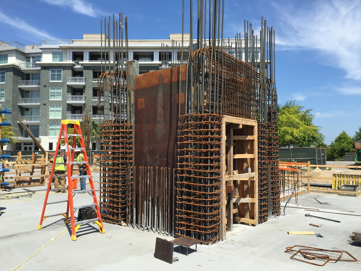 Tides IV Condominium - Construction pic of elevator shear wall reinforcement.