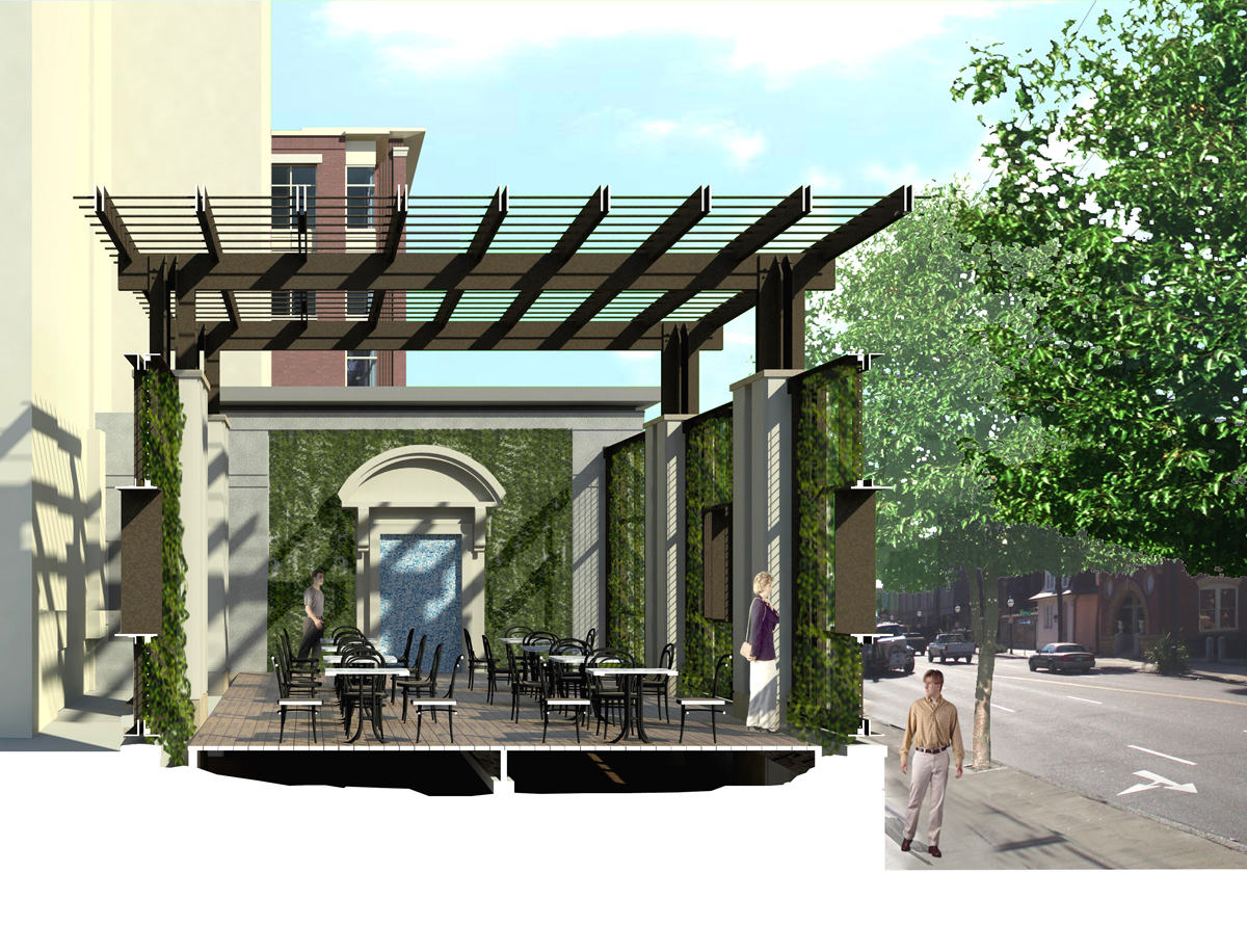 Section perspective rendering of the pergola.  I'm a big fan of section perspective renderings.  They are helpful technically with understanding how things go together and they also help display space.