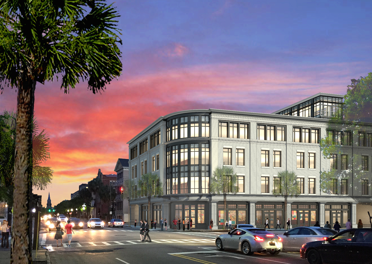 Rendering of a new office building across the street from the pergola.  The pergola is hidden behind the palm trees on the left side of the page.