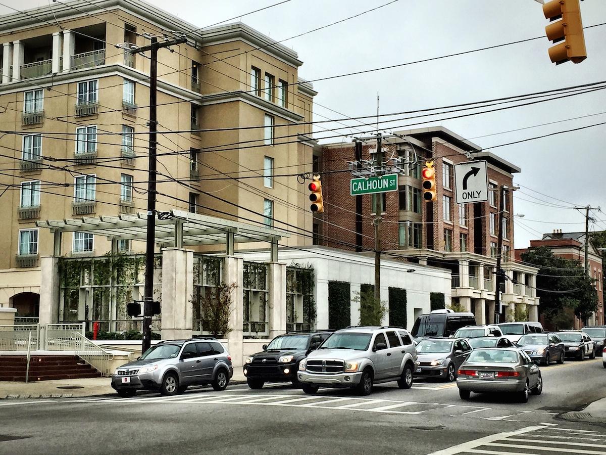 Corner of Calhoun and Meeting Street.