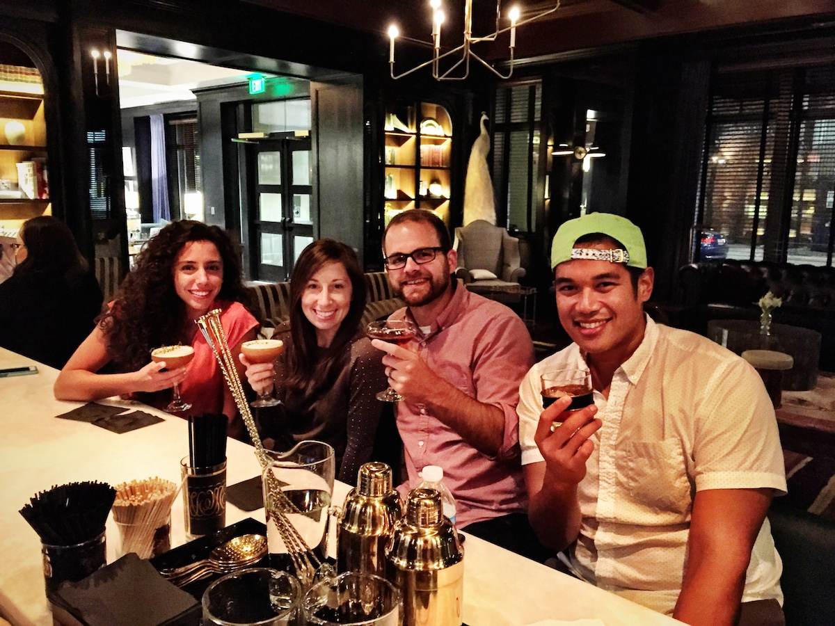 From left to right. Cousin Gabrielle, Nurse D-Rock, Some Architect Nerd, pal Miguel Buencamino from Holy City Handcraft