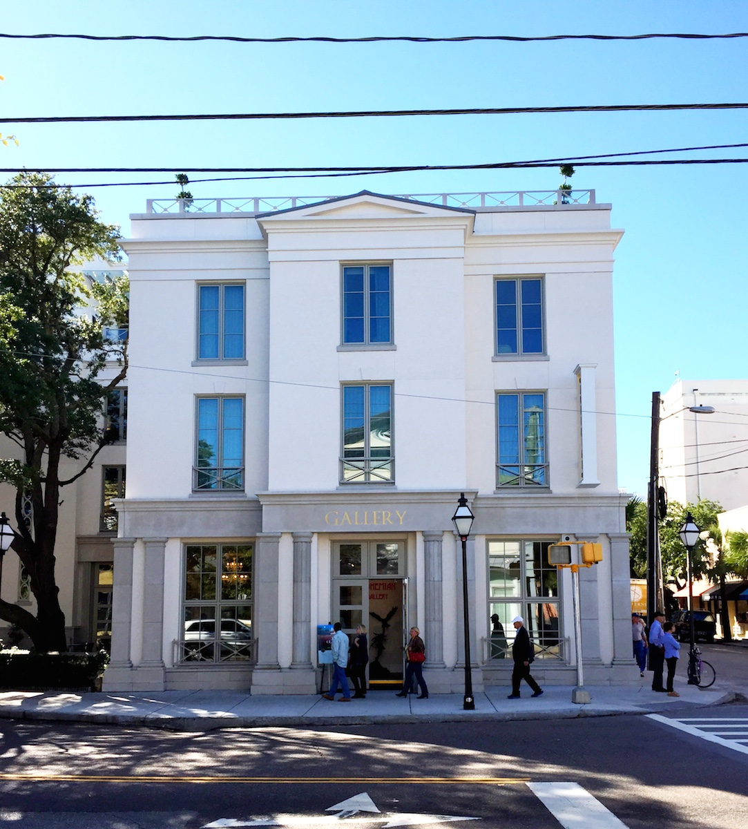 The Charleston Grand Bohemian Hotel is predominantly stucco. The columns and cornice at the ground level are cast stone. The cornice at the top of the 3rd floor is GFRC.