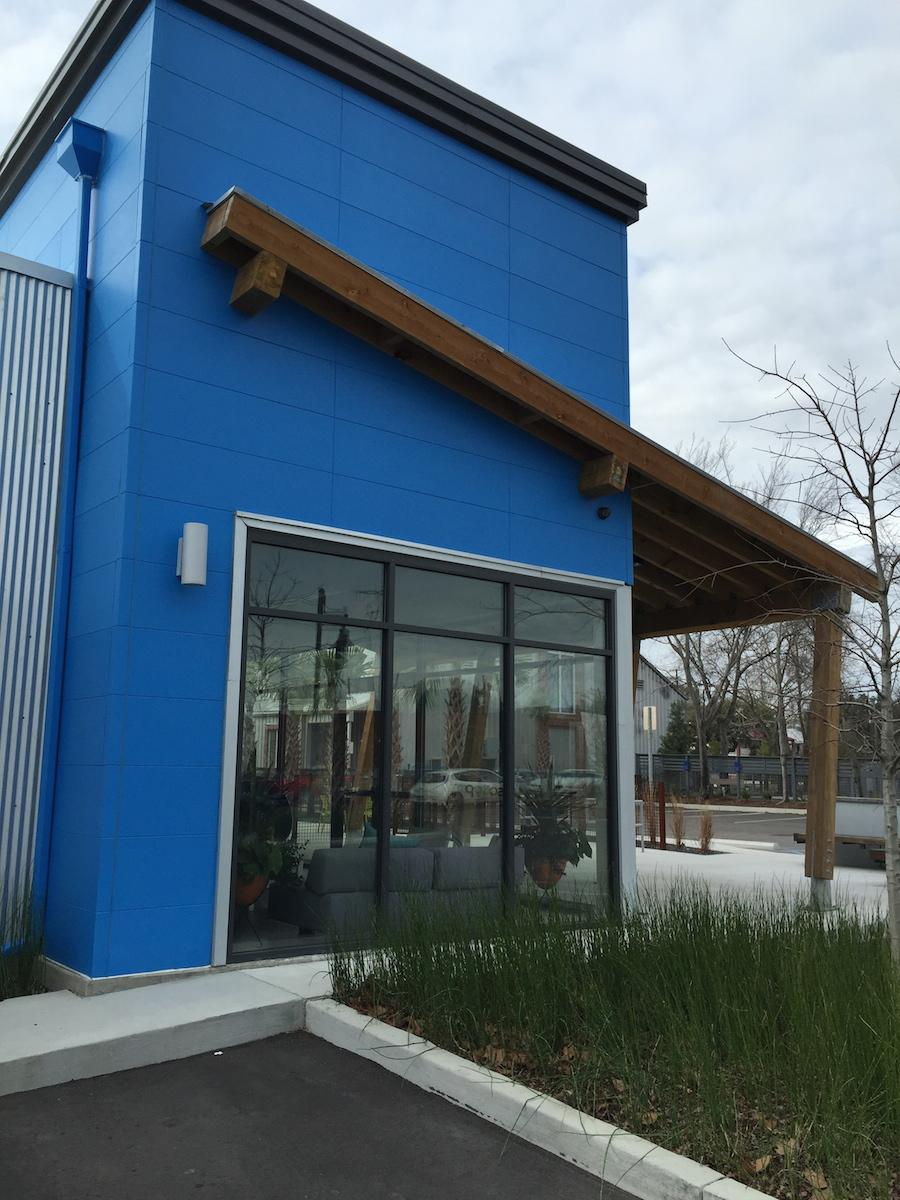 Nichiha fiber cement panels on the office building for Blue Acorn.