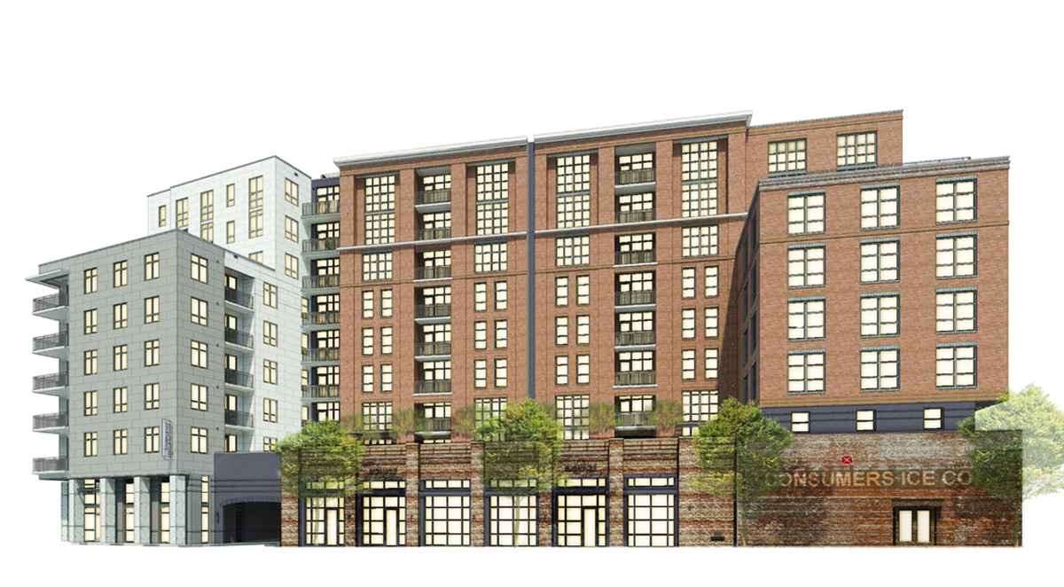 The most recent rendering of the Woolfe Street Residential building.  This building is currently under construction.