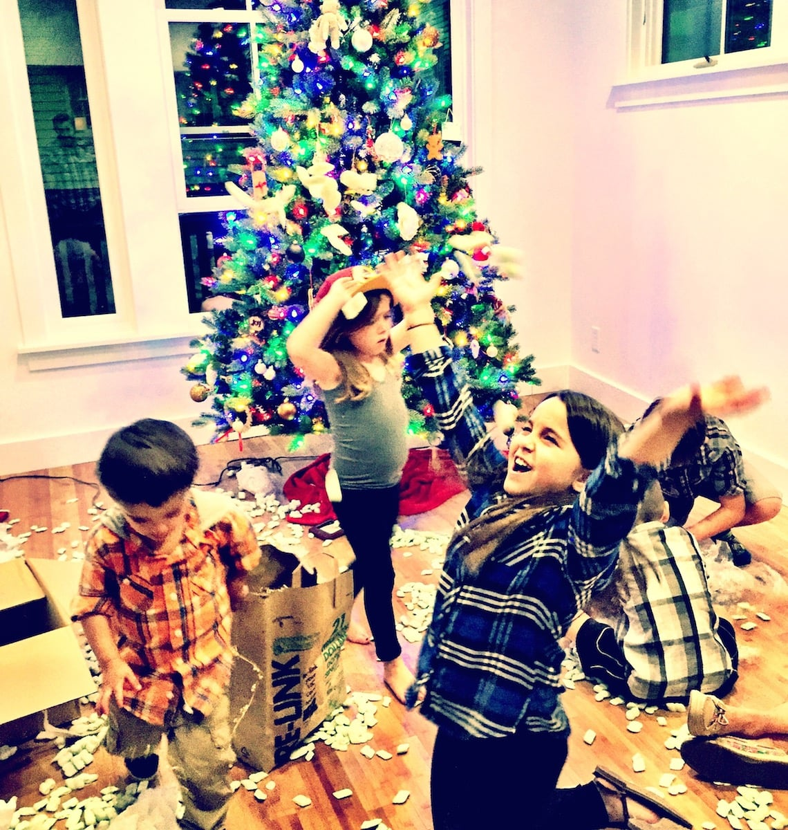 We let the kids decorate the tree. Lets just say that the density of ornaments was heavier at the bottom of the tree.