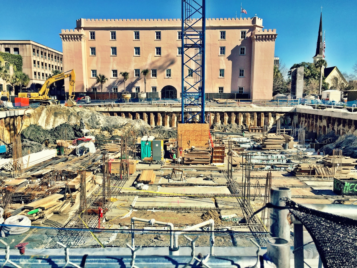 The construction progress on the underground garage at the new Bennett Hospitality Hotel on Marion Square.
