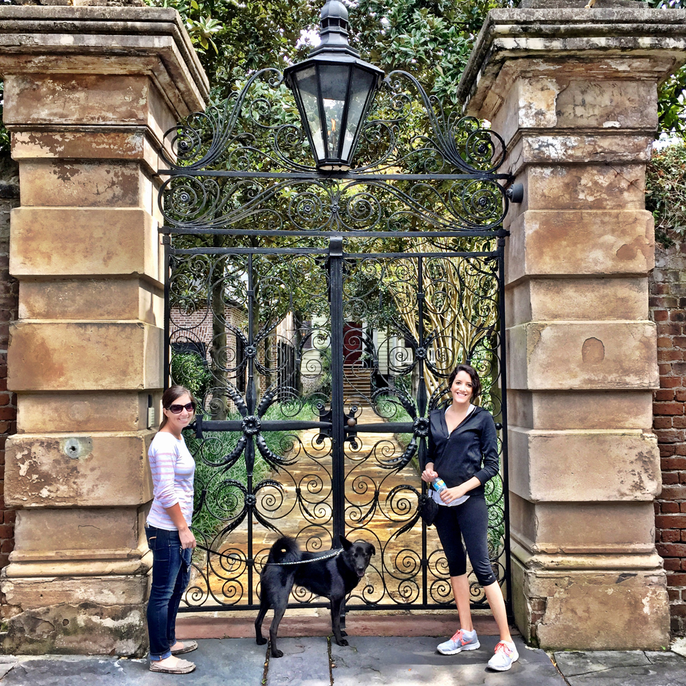 Charleston's Iconic Sword Gate.  Danielle, Buckminster, Sister Michelle.