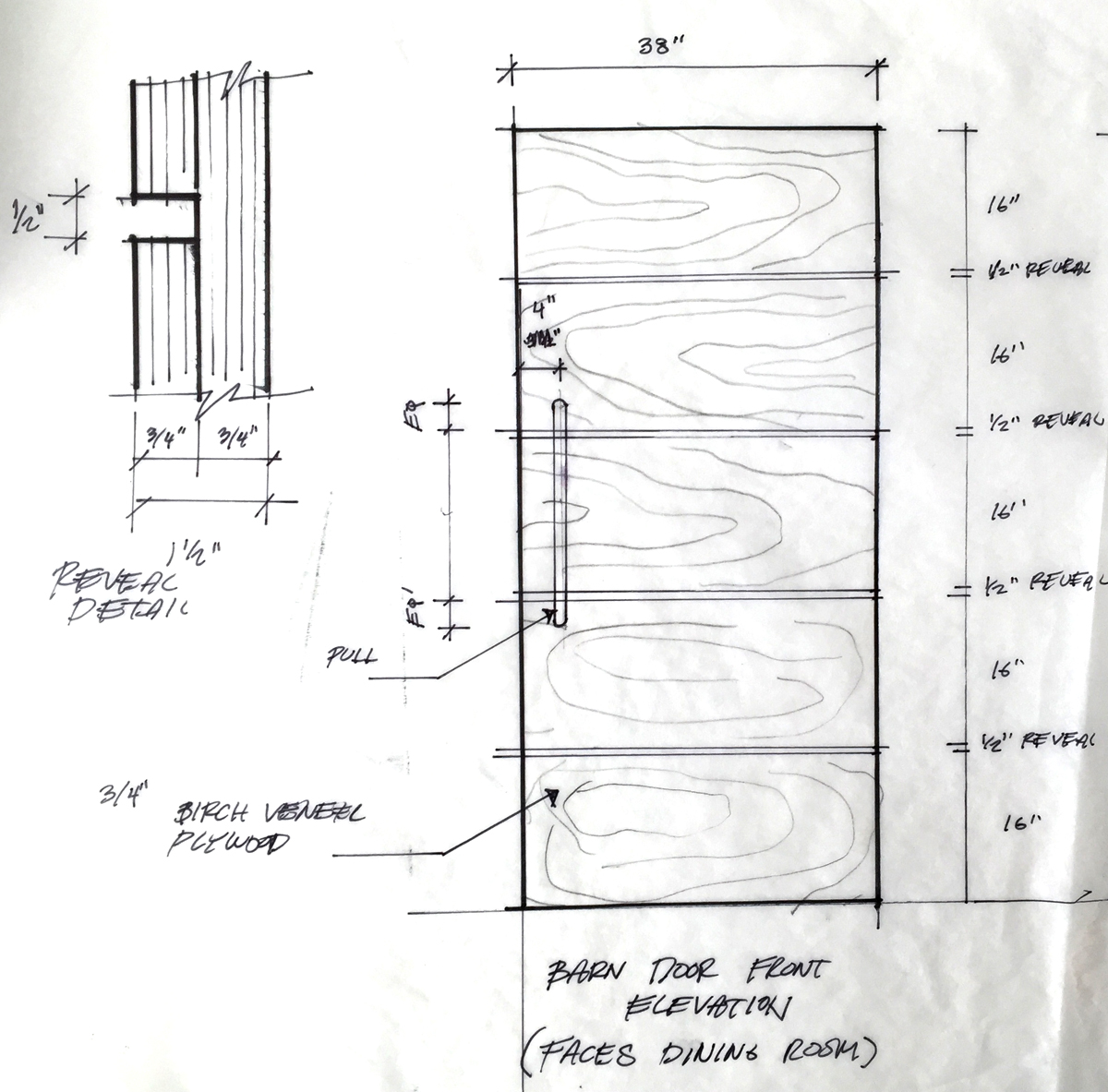Front elevation and detail sketch of barn door.