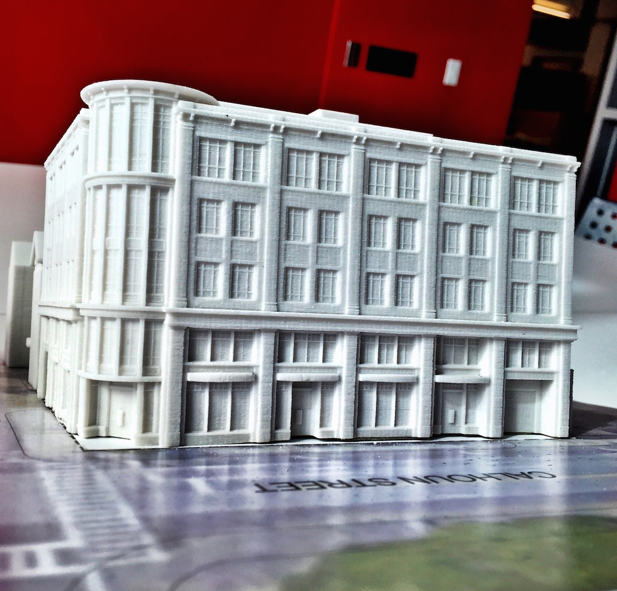 "5""x4""x3"" Courtesy of LS3P.  Printed using a MultiJet 3D printer."