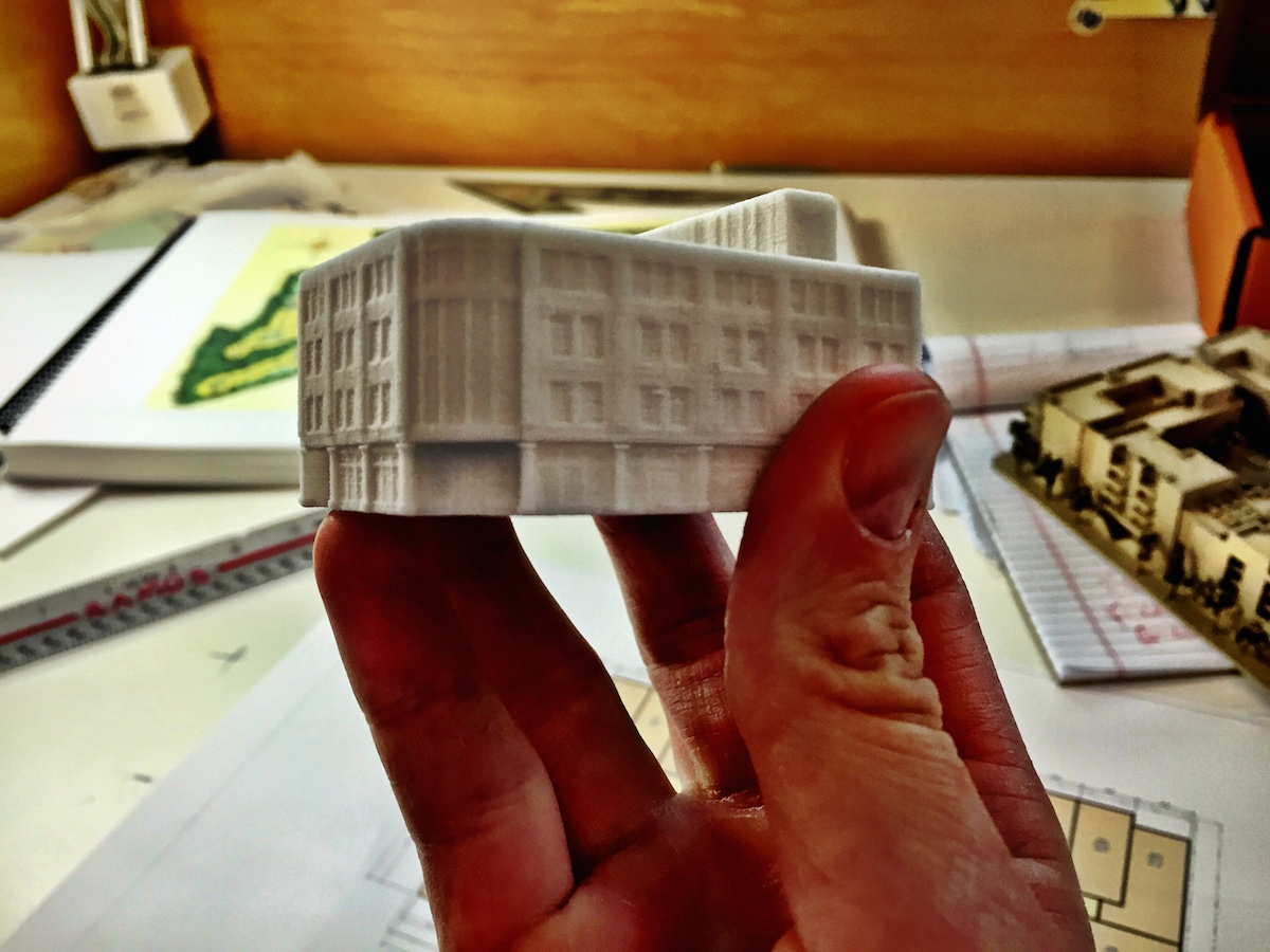 "Big hand or little building? 2.5""x2""x1.5"" Courtesy of LS3P.  Printed using a MultiJet 3D printer."