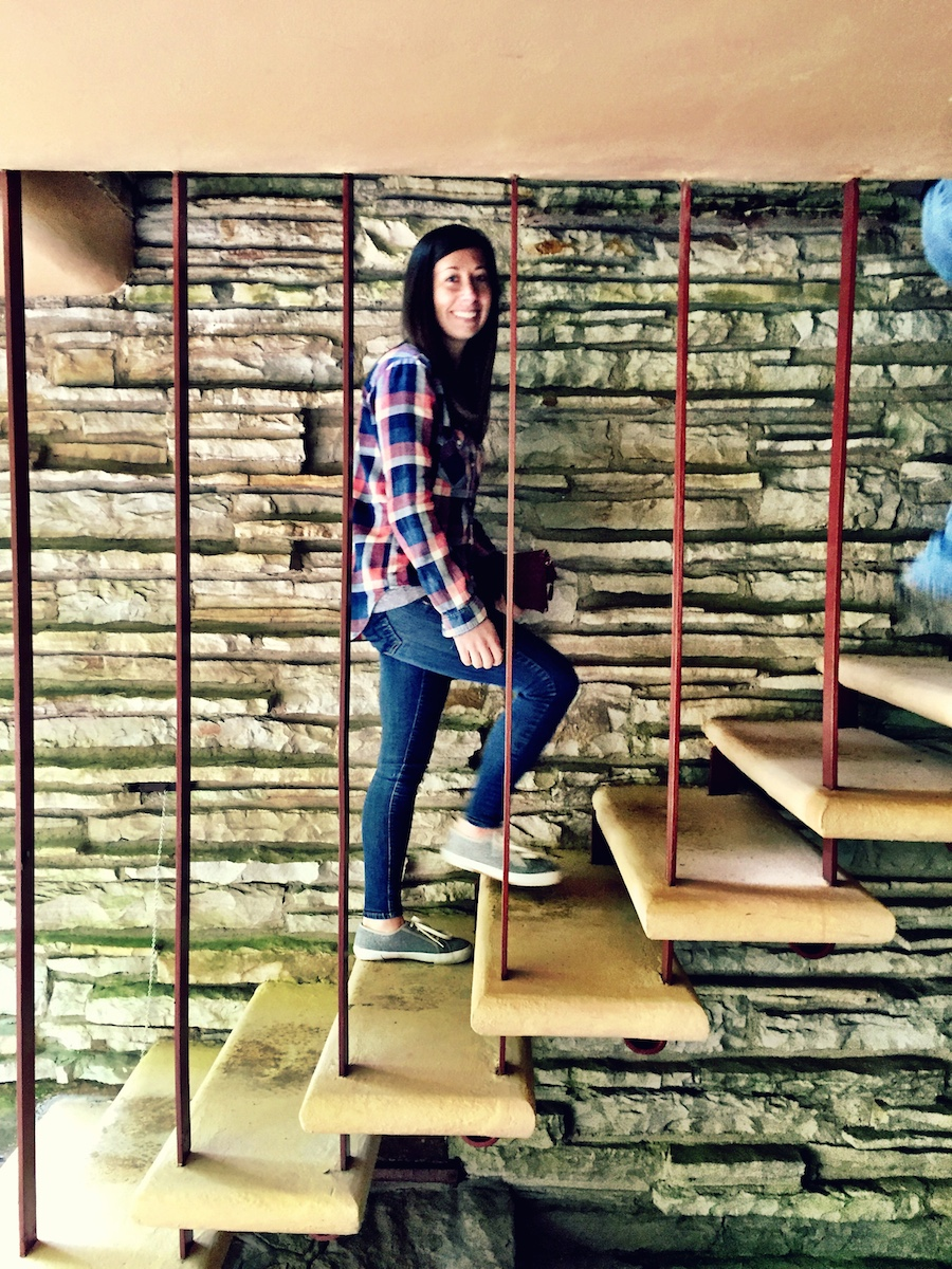D ascends the stairs.