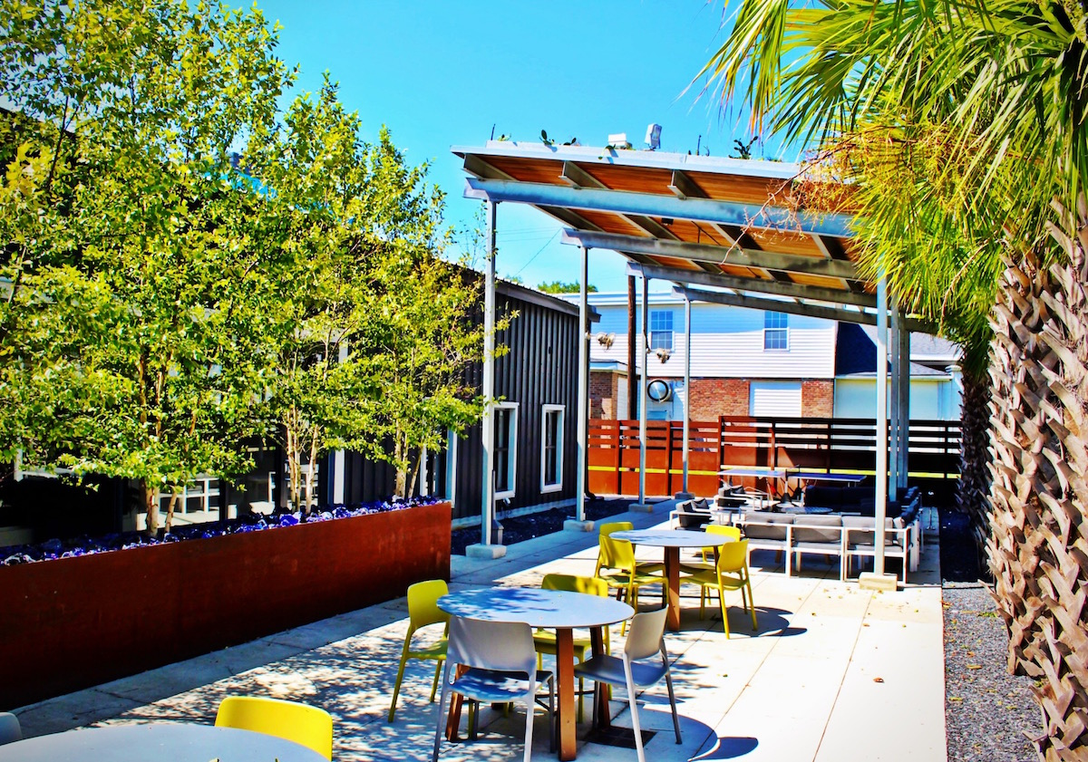 The outdoor terrace at Blue Acorn.