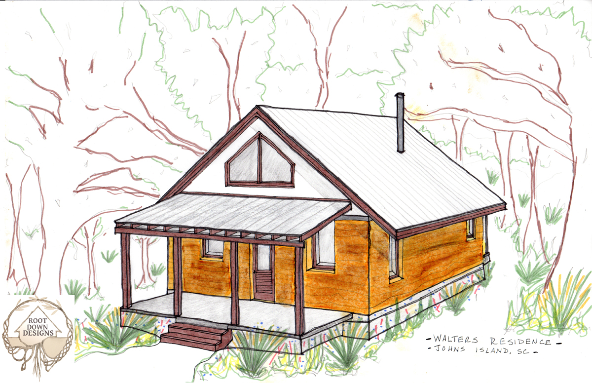 Rendering of the Walters Residence by April Magill of Root Down Designs.