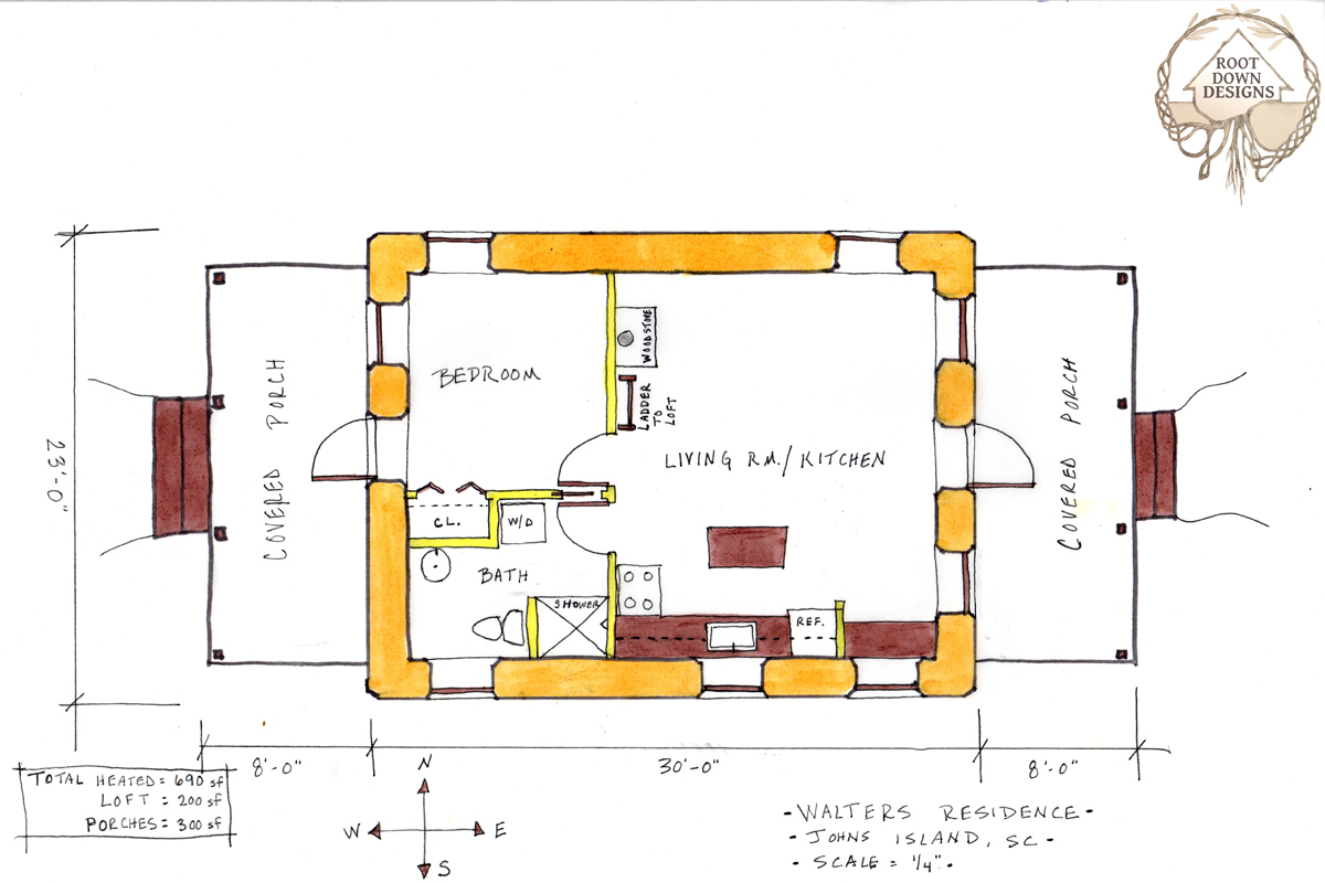 Plan rendering of the Walters Residence by April Magill.