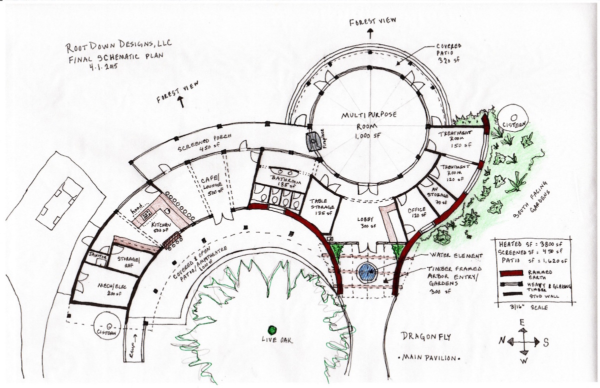 Plan Rendering by April Magill of Root Down Designs.