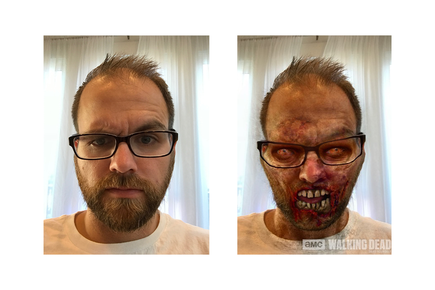 A face only a mother could love.  You know........seeing what you would look like as a zombie makes you feel a lot better about the way you currently look.  Download the Dead Yourself app to see your zombified self.