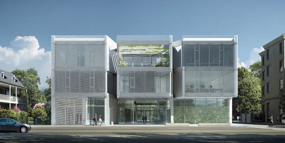 Rendering of the proposed design for the Spaulding Paolozzi Center by Allied Works Architecture. The Spaulding Paolozzi Center was to be the home of Clemson University's School of Architecture and Historic Preservation.