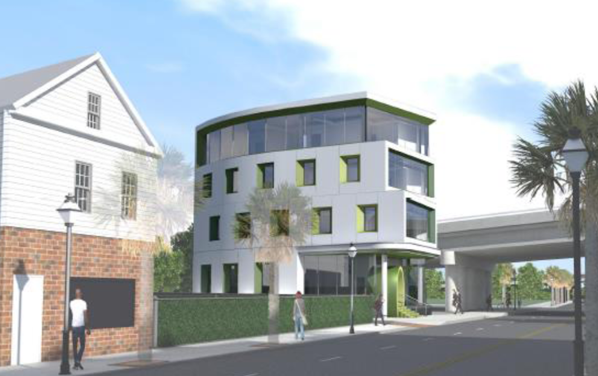 Rendering of new office building at 663 King Street by Neil Stevenson Architects. Rendering courtesy of   City of Charleston Board of Architectural Review Website  .
