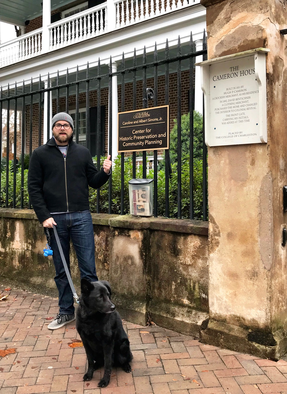My dog Buckminster and I outside the College of Charleston Center for Historic Preservation and Community Planning where I recently began teaching.