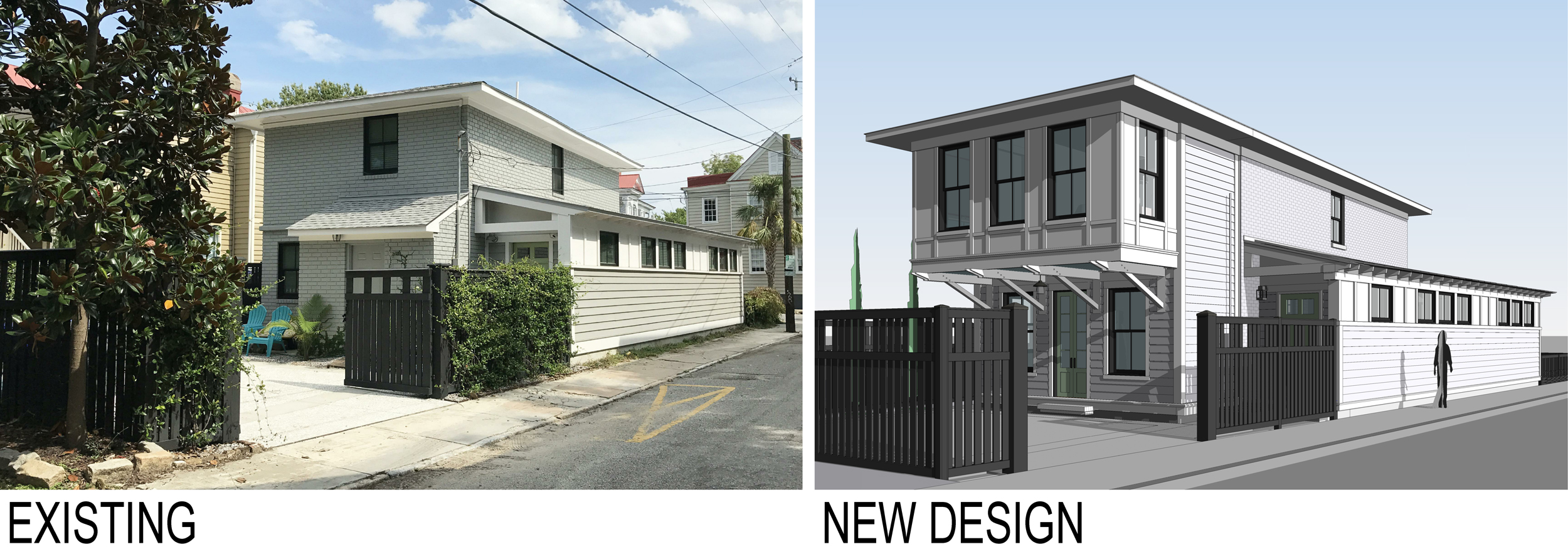 Image on left is the back of our house.  The image on the right is a 3D drawing of the new addition which is about to begin construction.