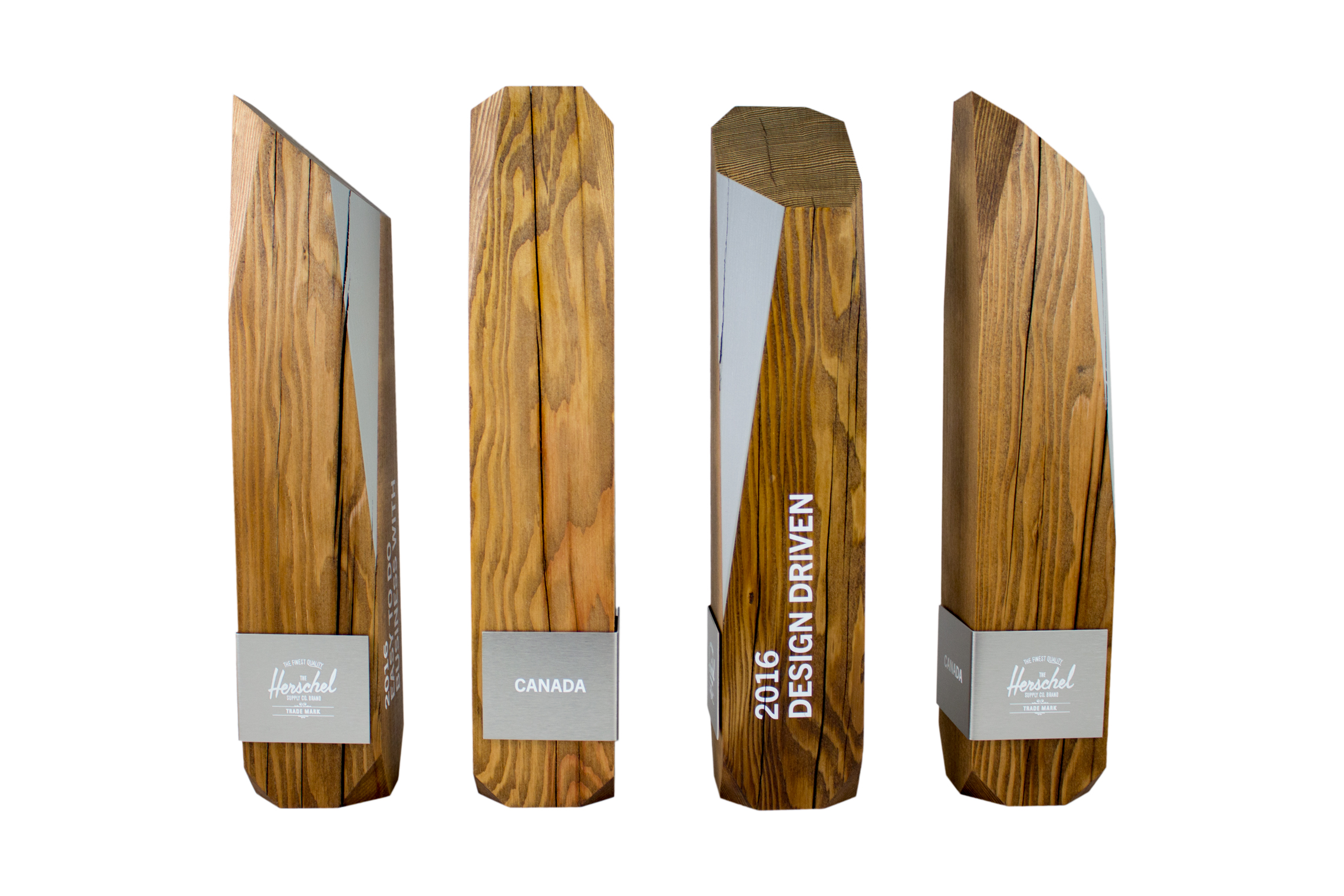 Hershel Canada recovered sustainable douglas fir wood custom award trophy uv print aluminum amazing modern design