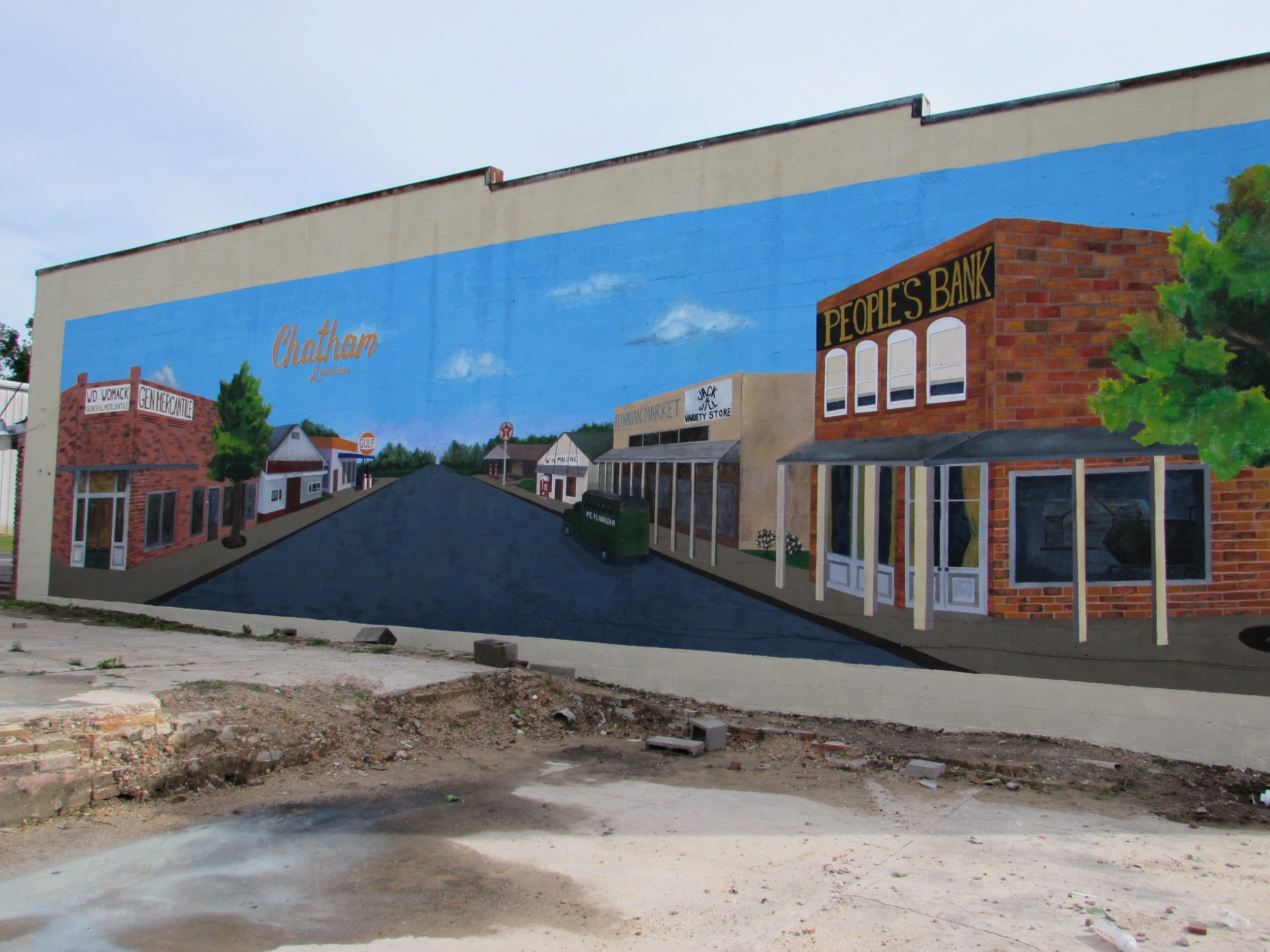 Chatham, Louisiana Mural, 2015. Design by Liz, painted with Louisiana Tech Mural Class.