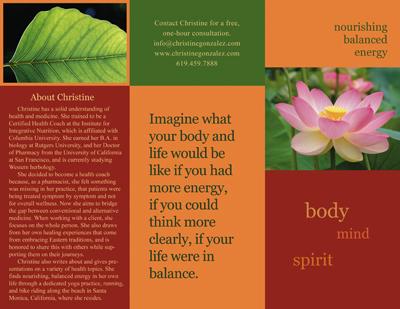 Brochure for Los Angeles Integrative Health Coach Christine Gonzalez