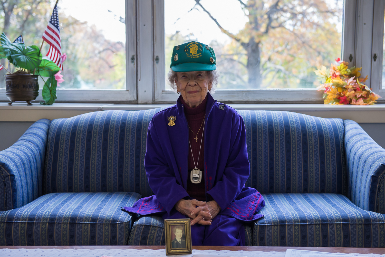 Elizabeth Lloyd poses for a portrait at the Armed Forces Retirement Home in Washington, DC. Lloyd, 90, joined the Women's Army Corps during World War II, then reenlisted after the war and ultimately retired from the Army in 1971.