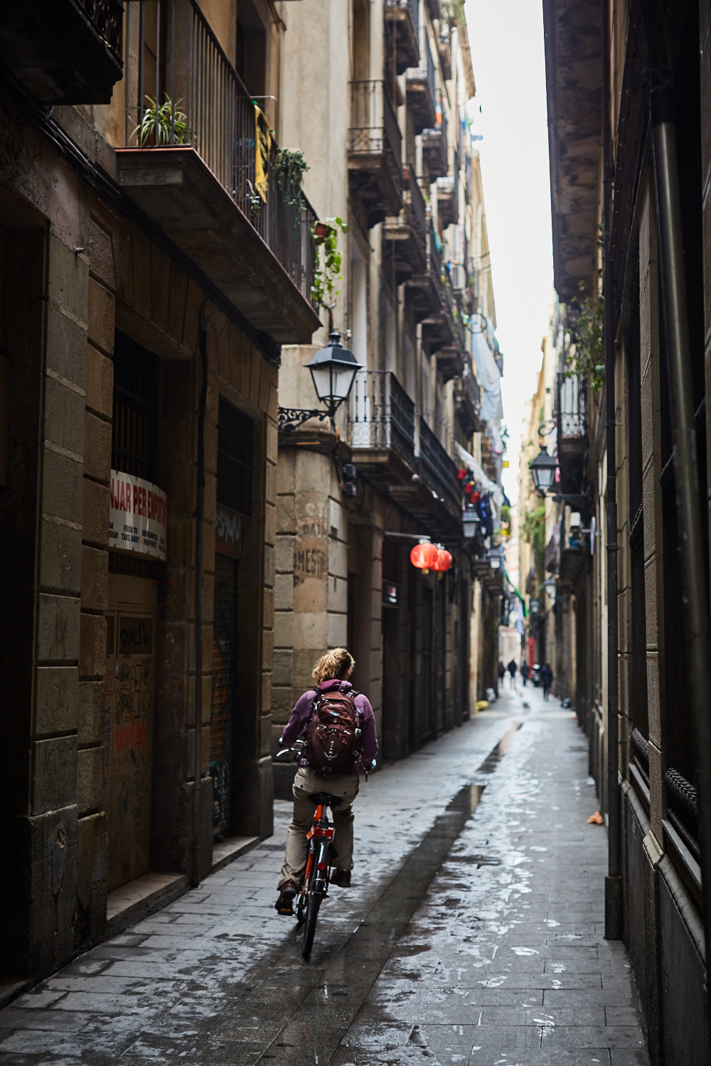 Biking through Barcelona