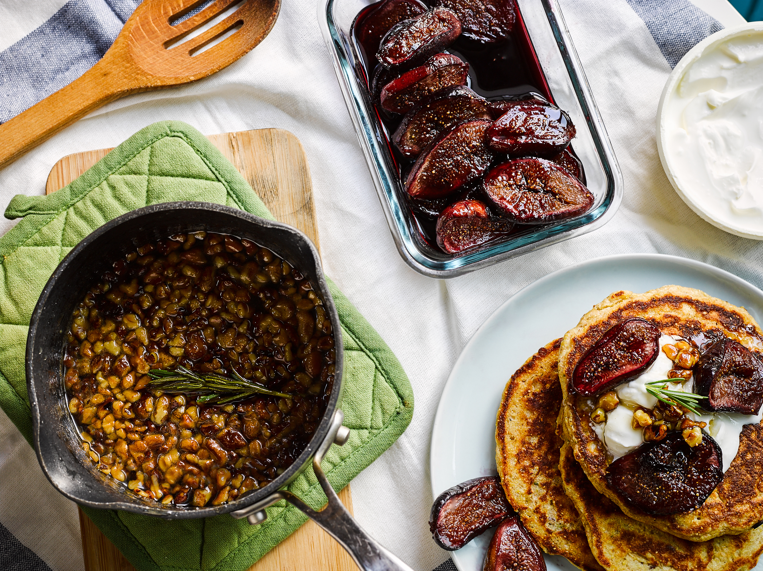 Rosemary Cornmeal Pancakes with Red Wine Figs - Traveling Fork