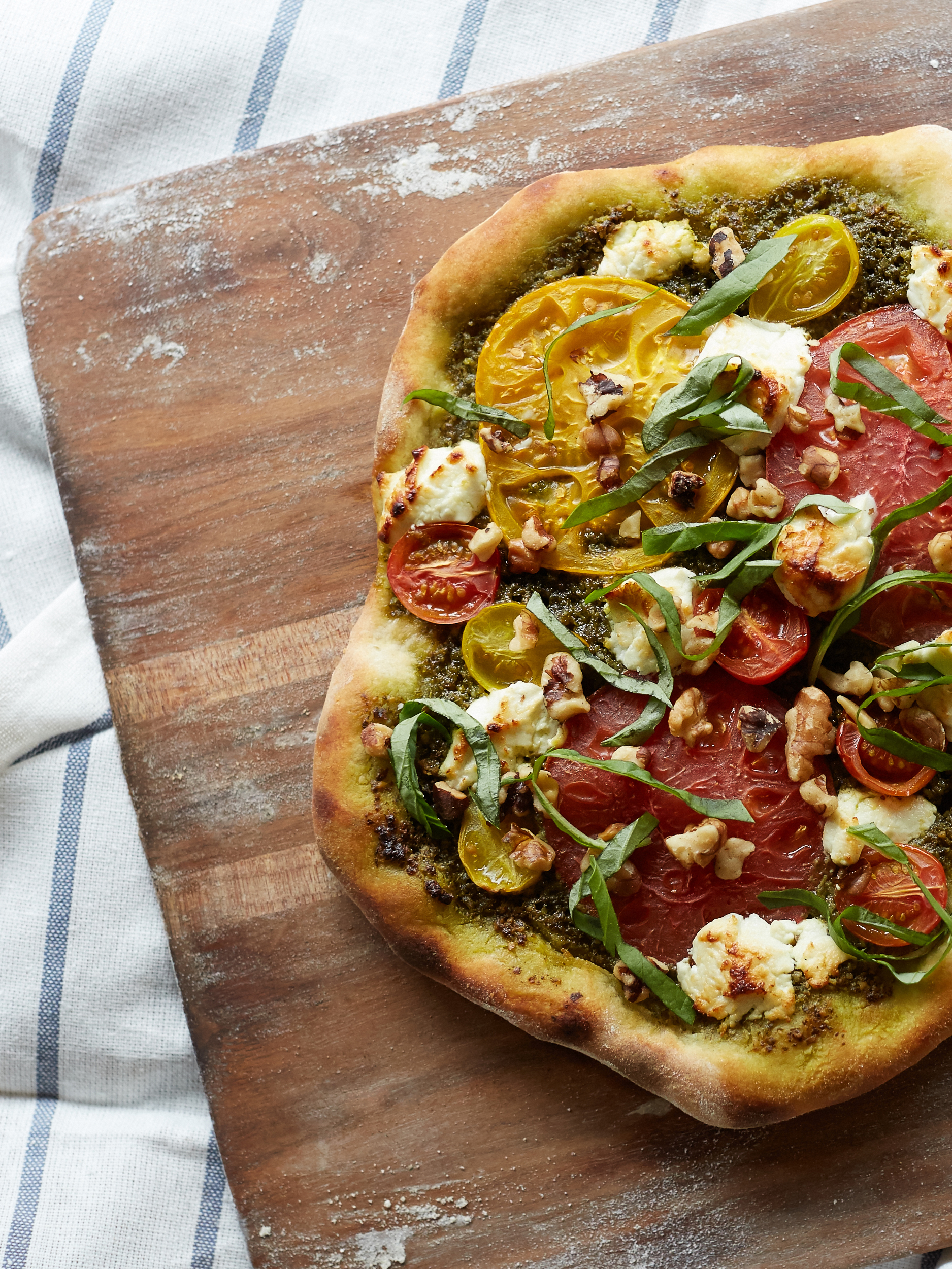 Walnut Pesto Margherita Pizza - The Traveling Fork