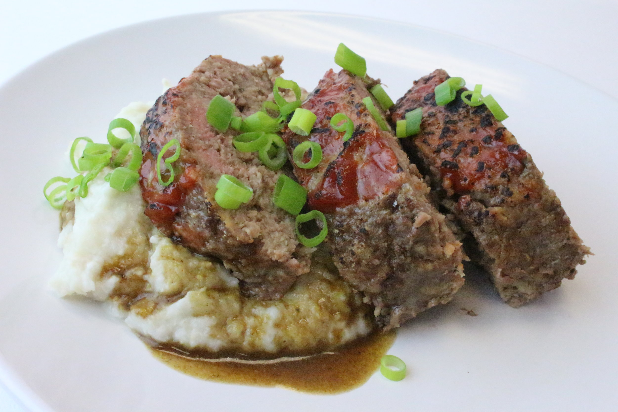 Winter meatloaf with coconut cauliflower mash and roast gravy