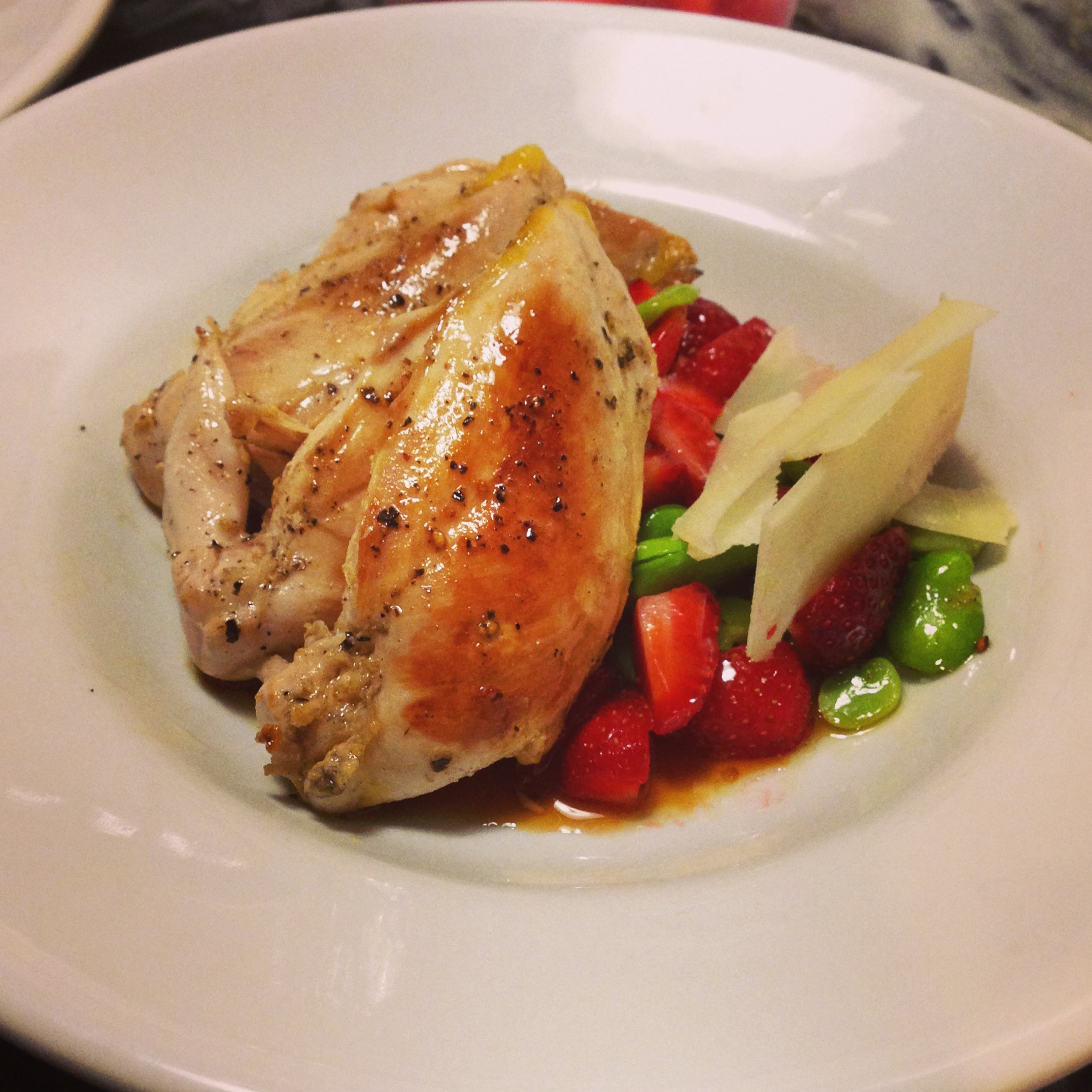 Lemon pepper roast chicken with fresh organic strawberries, edamame and Pecorino Romano