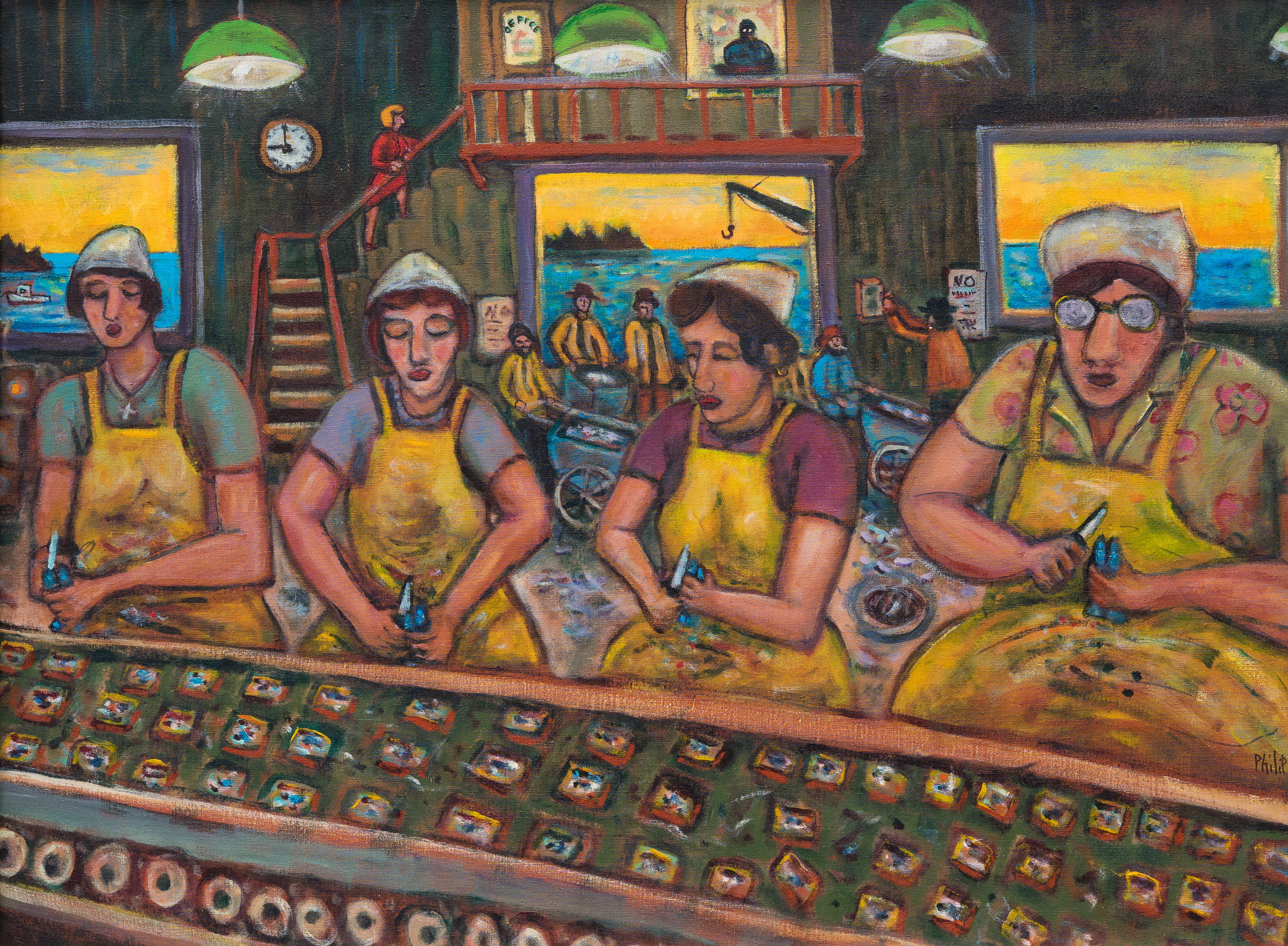 "Phillip Barter Underwood Cannery Interior acrylic on canvas 36""x48"" 8000.00"