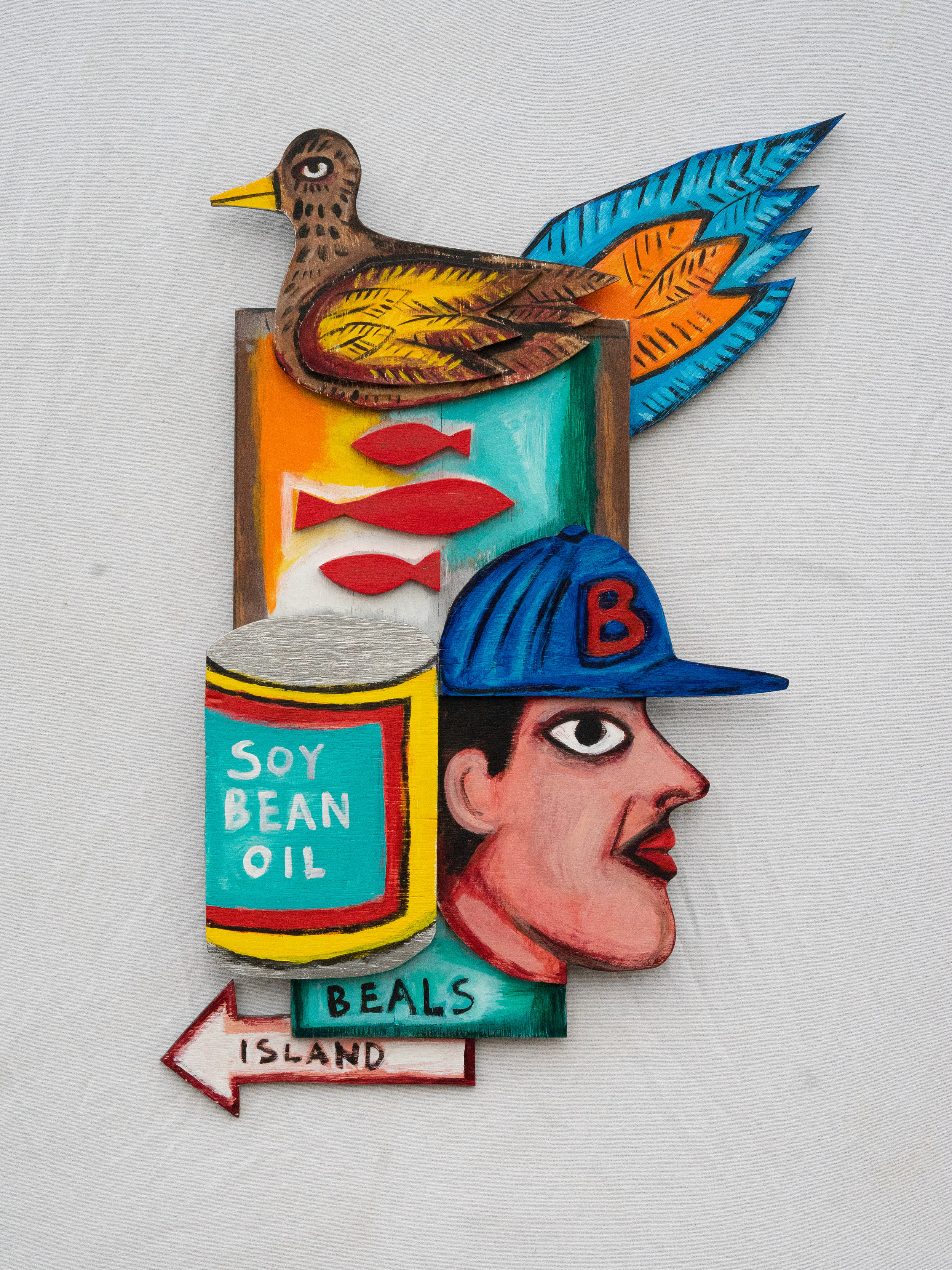 "Matt Barter Mythology Of Jonesport #2 acrylic on wood relief 32""x24"" 2800.00"
