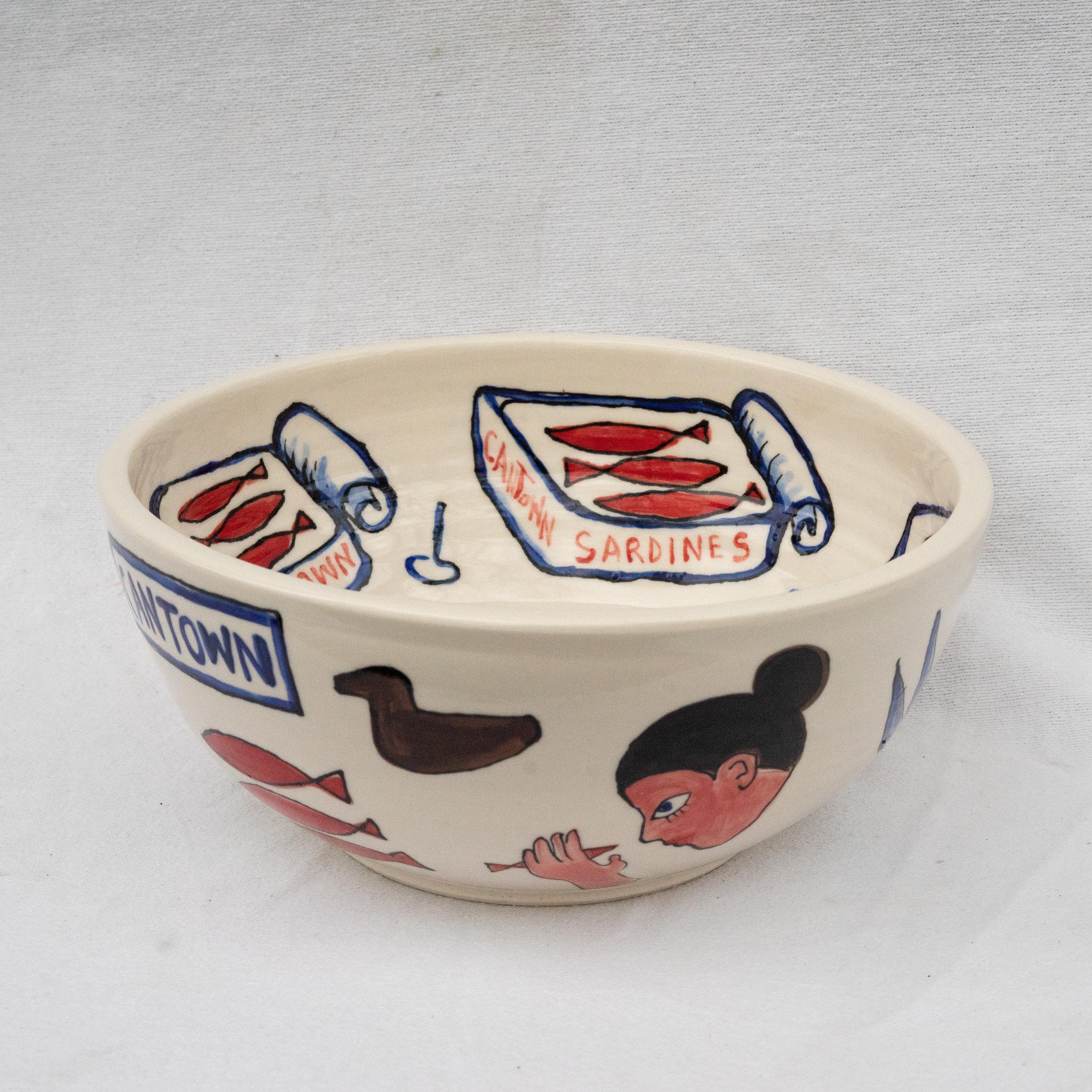 """Tim Fischer and Matt Barter Cantown Sardine Bowl porcelain 18""""x8"""" 280.00 quantity 1"""