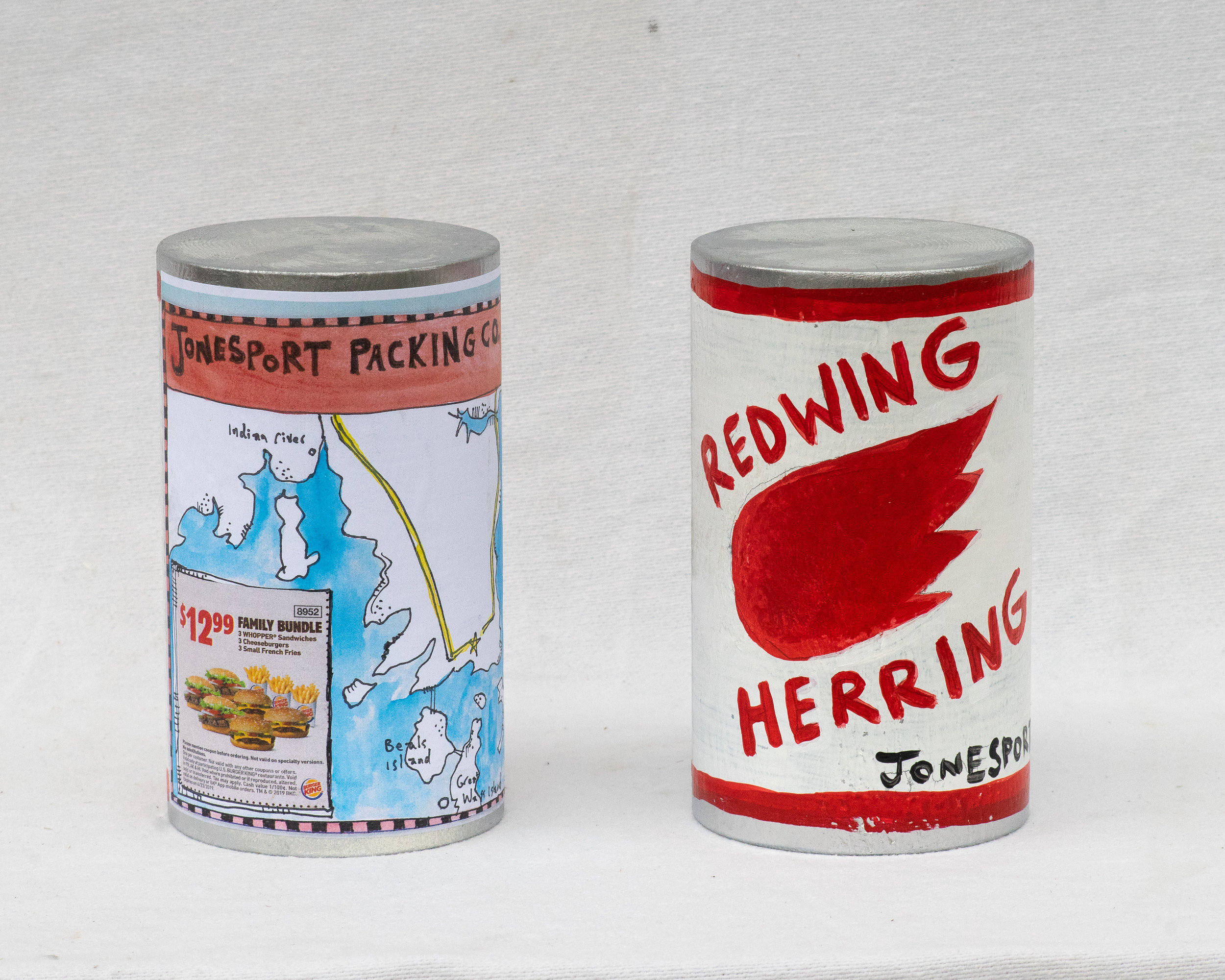 "Matt Barter Redwing Herring painted and printed label on wooden sculpture 9""x4"" 220.00 quantity 4"