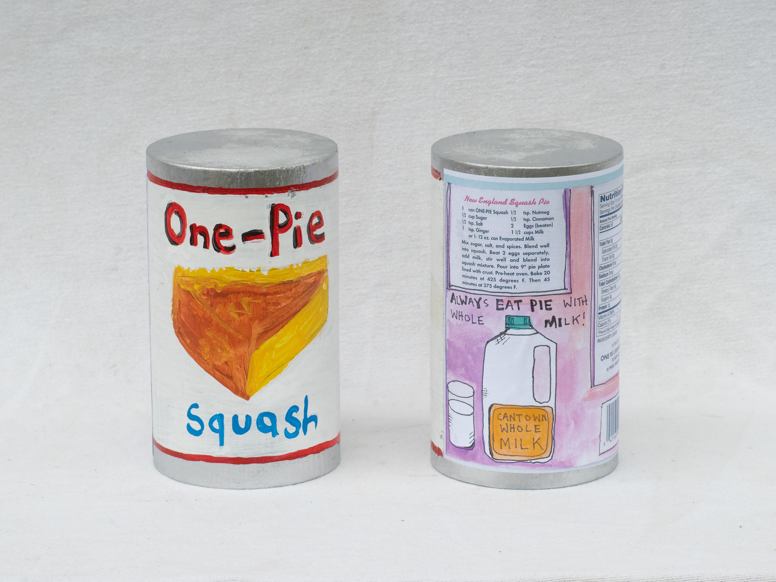 "Matt Barter 1-Pie painted and printed label on wood sculpture 9""x4"" 220.00 quantity 4"