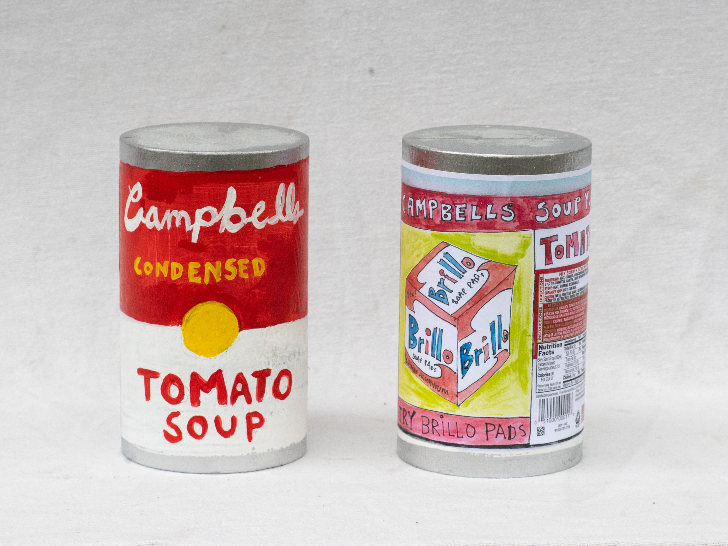 "Matt Barter Campbells Soup Can painted and printed label on wood sculpture 8""x4"" 220.00 quantity 5"